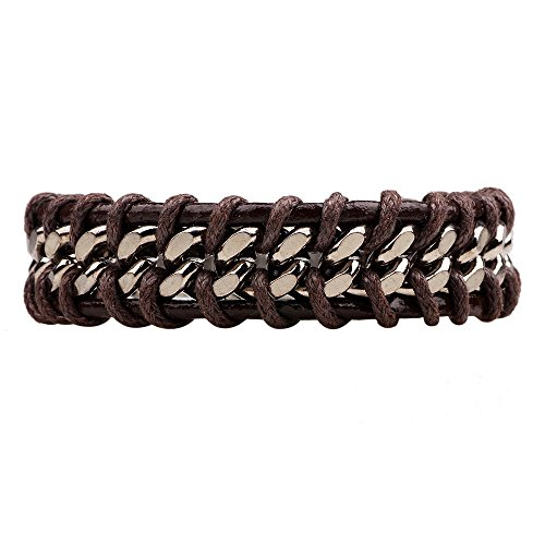 (Winter's Secret Handmade Braided Alloy Brown Leather Men's Wrap Bracelet Personality Fashion Jewelry)