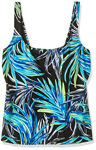 Maxine Of Hollywood Women's Scoop Neck Tankini Swimsuit Top, Black/Green / Jungle Night, 12