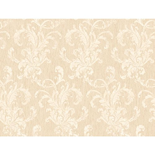 York Wallcoverings SS4422SMP Beige Book flocked Scroll Damask Wallpaper Memo Sample, 8-Inch x 10-Inch, Taupe