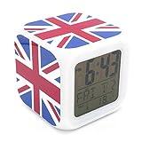 british clock - Boyan New England UK GB Union Jack National Flag Led Alarm Clock Creative Desk Table Clock Multipurpose Calendar Snooze Glowing Led Digital Alarm Clock for Unisex Adults Kids Toy Gift
