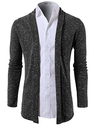 H2H Mens Fashion Slim Fit Open Front Long Sleeve Shawl Collar Pullover Cardigan