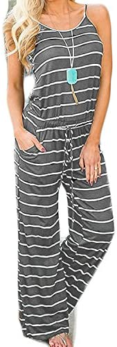 Artfish Women Casual Sleeveless Spaghetti Strap Striped Lounge Pajama Jumpsuit