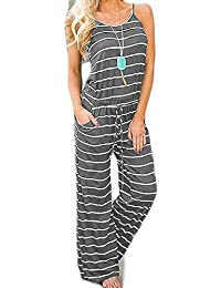 44af8ea59059 Women Sexy Sleeveless Spaghetti Strap Striped Printed Harem Jumpsuit with  Pocktes