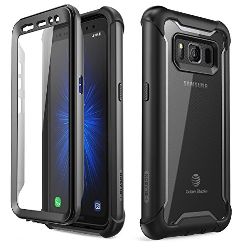 Samsung Galaxy S8 Active case, i-Blason [Ares] Full-Body Rugged Clear Bumper Case with Built-in Screen Protector for Samsung Galaxy S8 Active 2017 Release (Not Fit Regular Galaxy S8/S8 Plus) (Black)