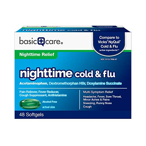 Basic Care Nighttime Cold & Flu Softgels, 48 Count