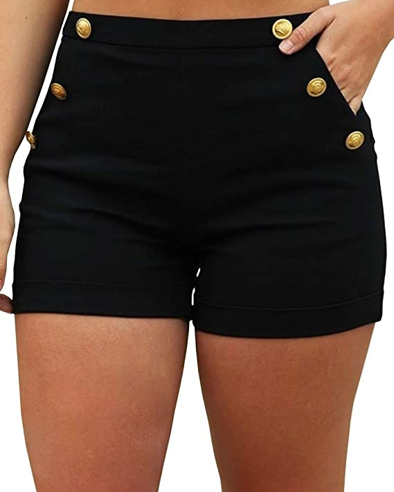 BRUBOBO Women's High Waist with Pocket Beaded Shorts Summer Tummy Control Casual Short Black