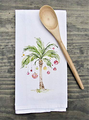 Christmas Palm Tree Kitchen Tea Towel -Holiday Deco