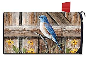 Bluebirds Song Summer Mailbox Cover Fence Gate Floral Magnetic Mail Box Wrap Yard Garden Decor 17.25 x 20.75 Inches
