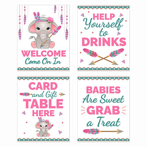 Boho Pink Elephant Baby Shower Table Decorations Signs - Centerpiece Decor Supplies for Girls