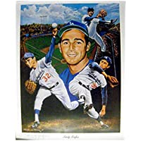 Sandy Koufax lithograph (Los Angeles Dodgers Hall of Famer Jewish Sports Legend) size 23x29 hand signed by the artist… photo
