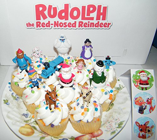 Rudolph the Red Nosed Reindeer Figure Set of 12 Mini Cake Toppers / Cupcake Decorations Party Favors with Monster Bumble, Misfit Toys, Santa Etc and Special Sticker Sheet