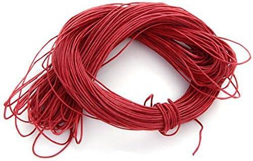 ACAMPTAR 45 Metros Cordel Cuerda de Algodon Encerado 1mm para DIY fabricacion de joyeria (Rojo): Amazon.es: Hogar