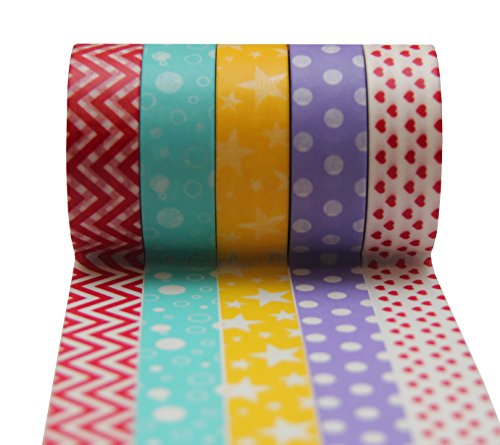 SALE! PREMIUM Washi Tape Stylish Set of 5 Rolls * BEST QUALITY * Multipurpose - Re-positional - Creative - Decorative - Adhesive - Masking * GREAT for Scrapbooking, Gift-wrapping, Card-making, DIY Project, Arts and Crafts * Summer Fun. 100% Satisfact