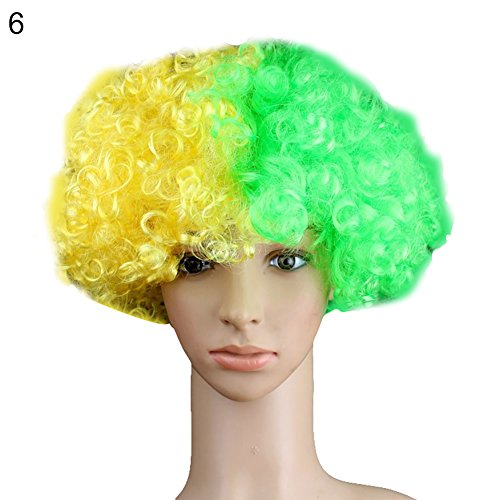 Mosichi Colorful National Flag Wig Country Football World Cup Fan Headgear Party Supply (Brazil)