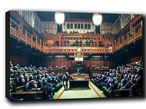 Lienzo de Banksy, imagen de monos en el Parlamento, 76,2 x 50,8 cm