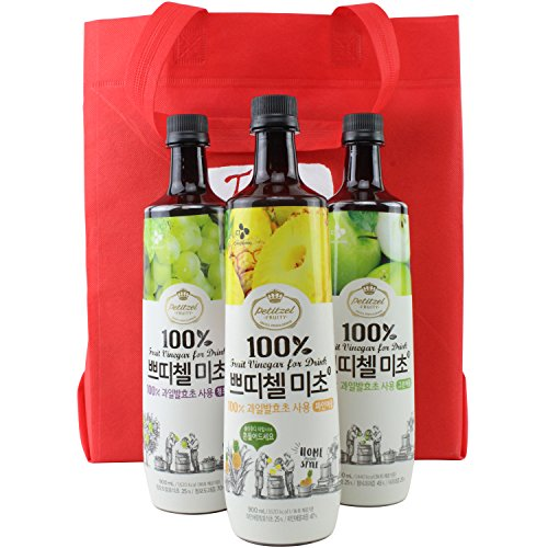 Korean CJ Petitzel Fruit Vinegar Drink Concentrate, 3 Bottle Set: Pineapple, Green Apple and Grape, 91 Fl Ounces