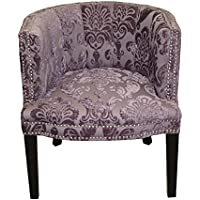 HD Couture Bohemian Fan Damask Chair, Black Plum