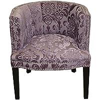 HD Couture Bohemian Fan Damask Chair, Black Plum