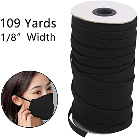 Elastic Bands Cord Stretch Width Braided Crafts 109-Yards Elastic Rope for Knit Sewing Crafts DIY Earloop Bedspread Band 3mm Cuff Belt Black - 1//8 Inch