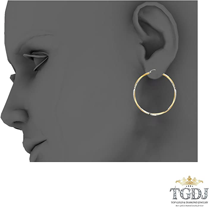 Diameter - 35 MM TGDJ 14K Yellow White 2.6mm Diamond Cut Satin Hoop Earrings