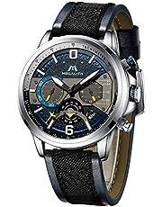 Herren Uhr Männer Chronographen Militär Wasserdicht Sport Groß Blau Leder Armbanduhr Mann Analoge Kalender Designer Leuchtende Uhren