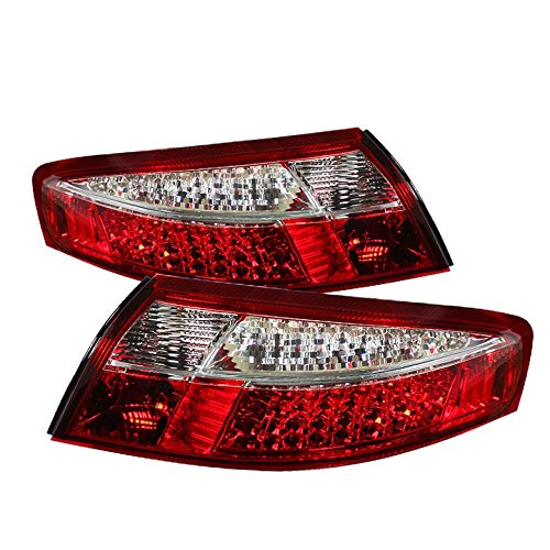 For 1998-2004 Porsche 911 Carrera Red & Clear LED Tail Lights Brake Lamp Pair Left+Right 1999 2000 2001 2002 ()