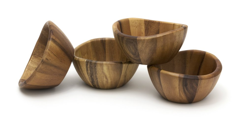 Lipper International Wave Bowls (Set of 4), Brown