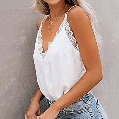 Tank Tops for Women Plus Size, Casual Summer Halter Tank Tops Lace Crochet V Neck Strappy Loose Camisole Vests Shirt at  Women's Clothing store