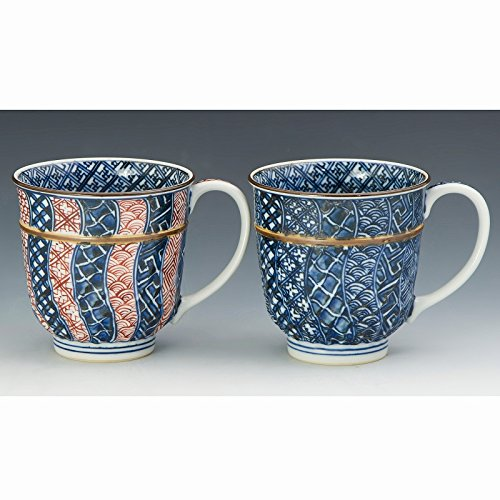 Kiyomizu-kyo yaki ware. Set of 2 Japanese mug cups someaka nejishonzui with wooden box. Porcelain. kymz-CHZ737