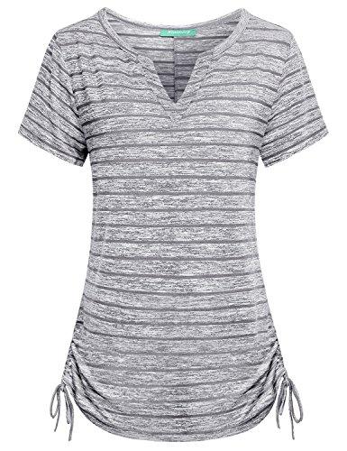 ngs for Women,Kimmery Feminine Dressy Clothing Short Sleeve Extendable and Shrinkable Hem Bowknot Details Notch V Neck Aesthetic Retro Impressive Striped T Shirts Grey Medium ()