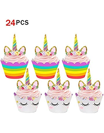Unicornio Cupcake Topper de Tarta Magdalenas Decoración Cuerno y Orejas Doble Cara envolturas para Niños niñas