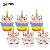 Unicornio Cupcake Topper de Tarta Magdalenas Decoración Cuerno y Orejas Doble Cara envolturas para Niños niñas Regalo Unicornio Decoraciones de Fiesta de cumpleaños (24Pack)