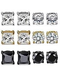 CASSIECA 6 Pairs Magnetic Stud Earring for Men Women CZ Magnet Non Pierced Clip On Earrings Set 6mm-8mm