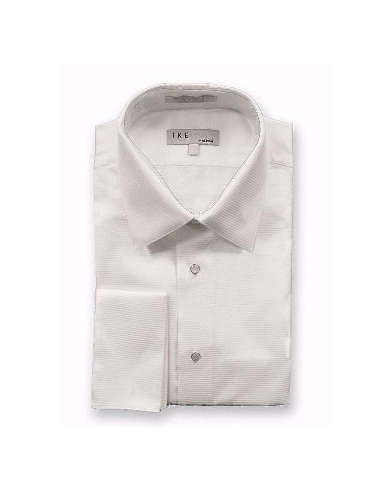 EZ Tuxedo Ike Behar Cotton Horizontal Stripe Laydown Collar Tuxedo Shirt