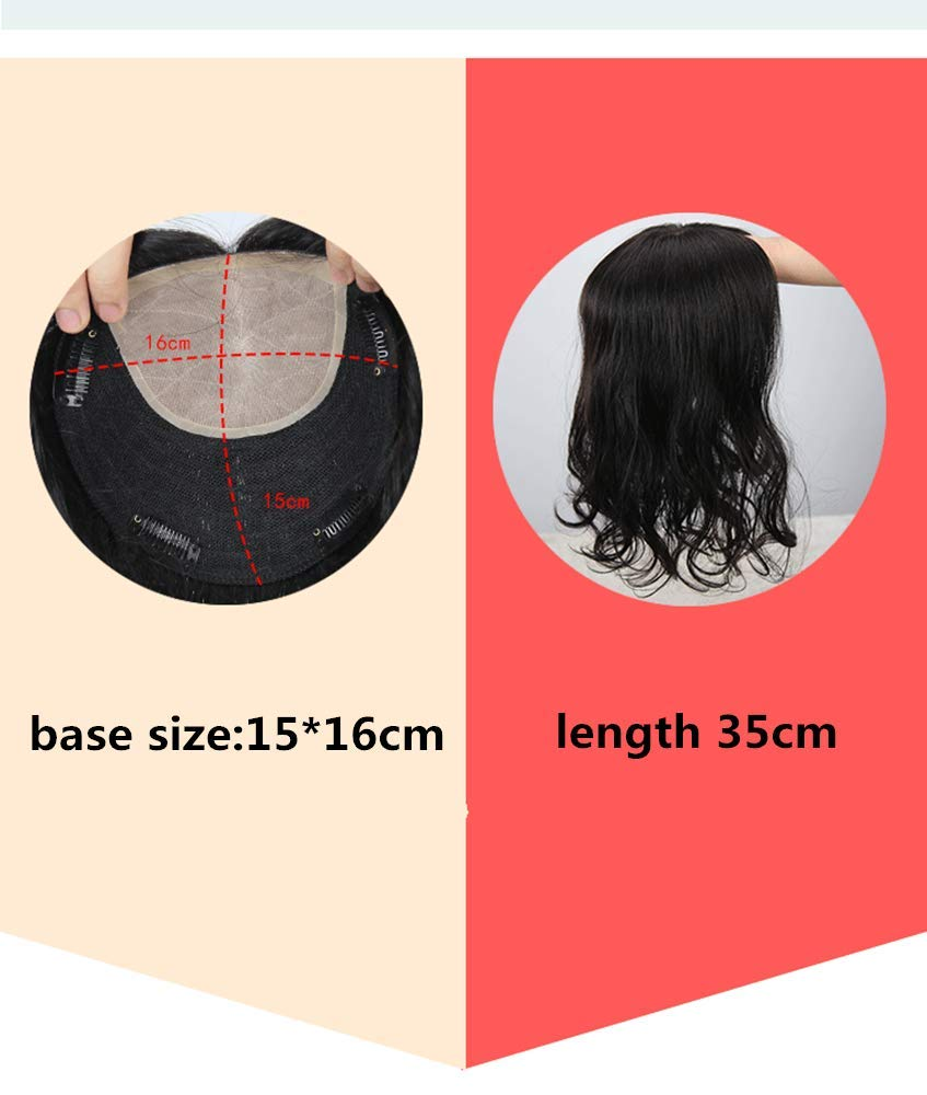 Yudit Long Curly Wavy Remy Human Hair Topper Clip in Silk Base Crown Hair Piece Natrual Part with Realistic Scalp For Thining Hair For Women Natrual black Yudit