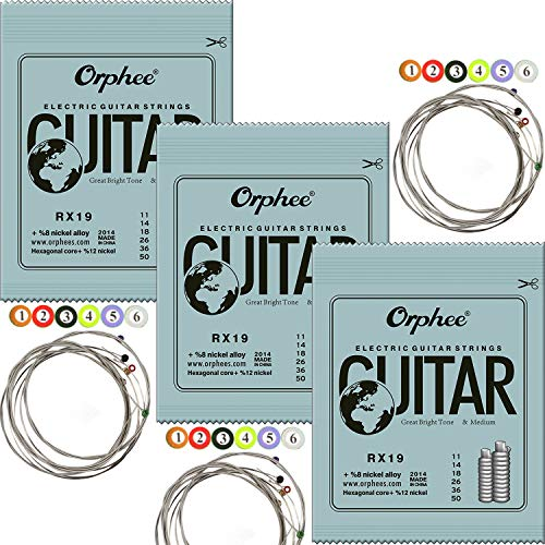 3 Sets Orphee RX19 Nickel Plated Steel Colorful Ball-End Electric Guitar Strings Medium 011, 014, 018, 026, 036, 050