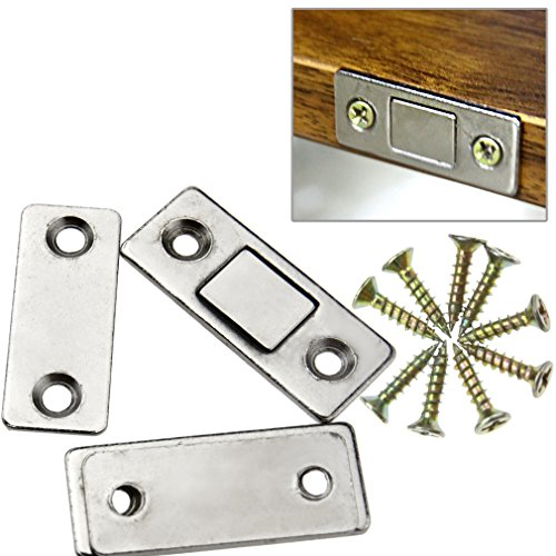Glass Cabinet Latch (2 x Ultra Thin Door Catch Latch Furniture Magnetic Cabinet Cupboard Glass)