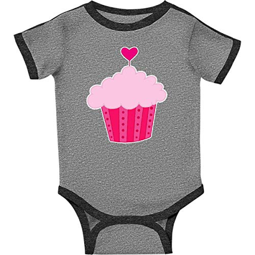 inktastic - Pink Cupcake Infant Creeper Newborn Ringer Heather and Smoke 271a4