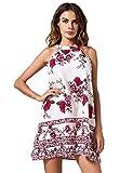 Women's Halter Neck Boho Floral Print Sexy Dresses Sleeveless Comfortable Mini Dress Loose Tops