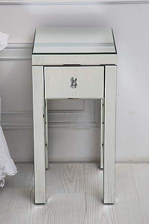 Table De Chevet Haute Vénitienne Avec Miroir En Verre Et Un Tiroir