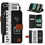 Iphone X Case, Trishield Gear Dual Layer Black Synthetic Leather Magnetic Closure Flip Wallet Cover With Kickstand Wrist Strap For Iphone 10 - Piano Keyboard - Jazz