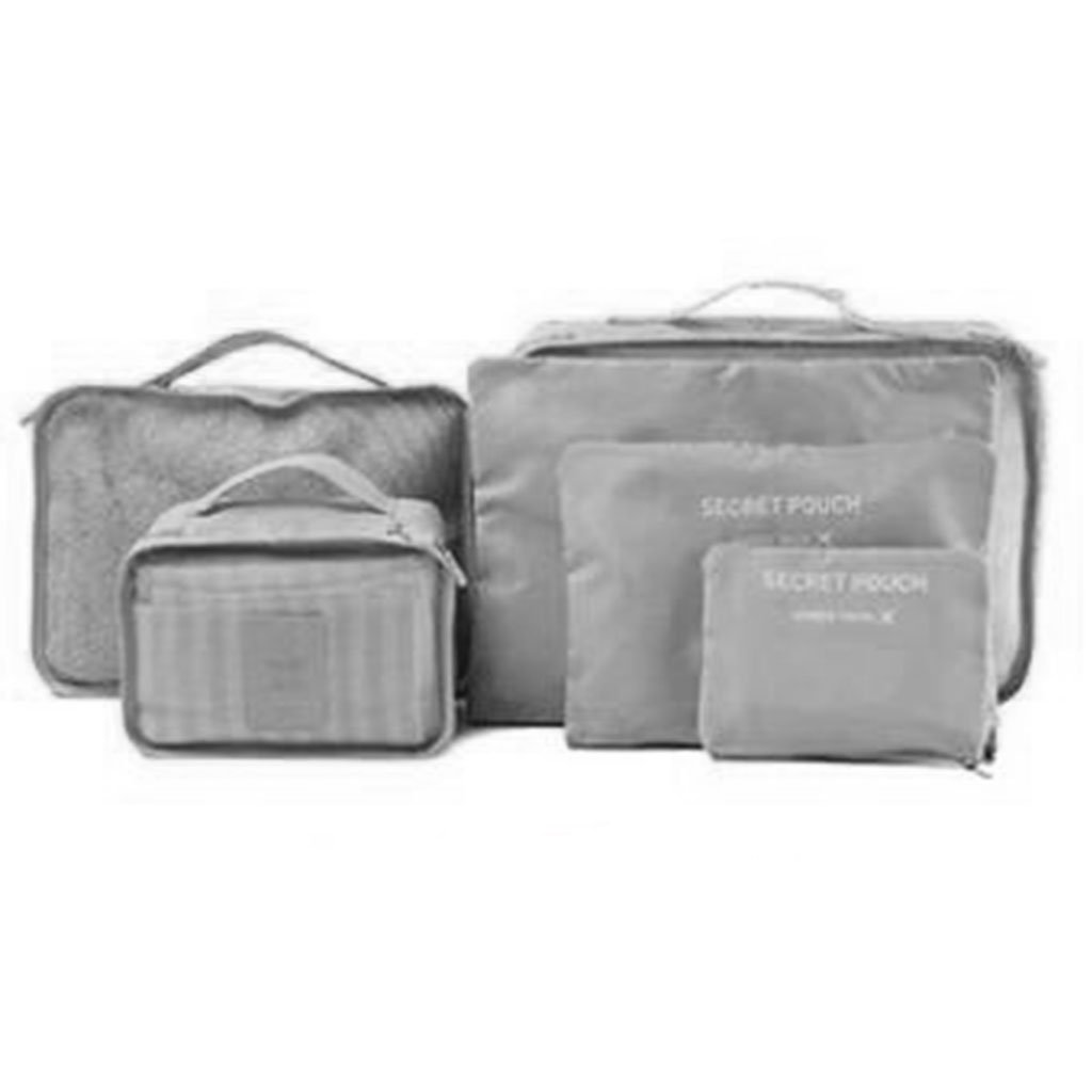 Sqiuxia 6PCS Waterproof Travel Storage Bag Packing Cubes Value Set for Travel Luggage Organiser Bag Compression Pouches Clothes Suitcase,Gray