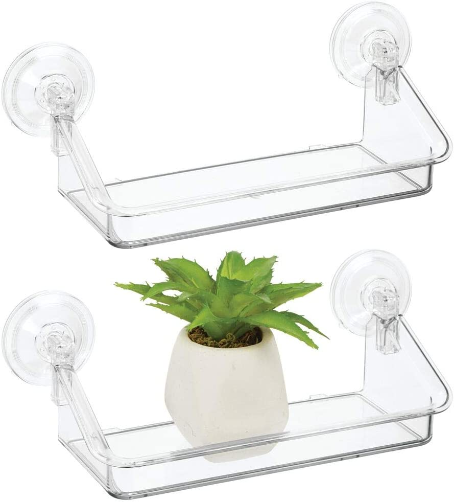 mDesign Plastic Suction Decorative Home Storage Organizer Shelf - Hanging Mirror/Window Basket for Entryway, Mudroom, Bedroom, Bathroom, Office, Laundry Room - Strong Suction, Small, 2 Pack - Clear