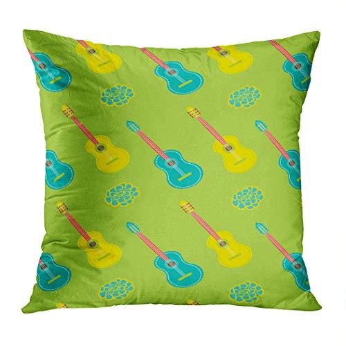 Vooft Throw Pillow Cover Home Sofa Live Room Car Hidden Zipper Decor Square 16 X 16 Inch Mariachi Pattern Set 1 Guitars Decorative Cushion Pillowcase -