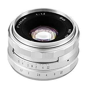 Jaray Silver 35mm f/1.6 Manual Focus Prime Lens for SONY E-mount full frame APS-C Sharp Lens