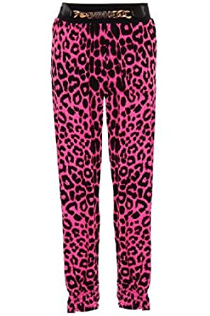 60f8ac245f28d0 FANTASIA Children's Elasticated Waist Band Leopard Print Girls Gold Buckle  Harem Trousers: Amazon.co.uk: Clothing