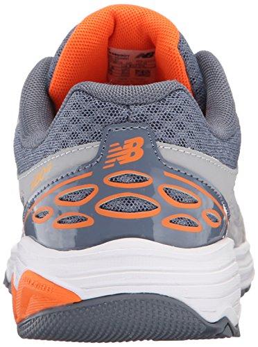 New Balance KR680 Youth Running Shoe (Little Kid/Big Kid), Grey/Orange, 7 M US Big Kid