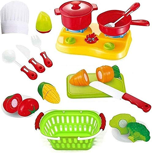 FUNERICA Cutting Play Fruit Toys Set - Includes Quality Plastic Toy Vegetables Play Food - with Knife - Mini Kitchen Kids Dishes- Toy Grocery Basket & Child Chef - General Cooking Appliances