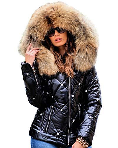 Aofur Womens Ladies Quilted Winter Coat Fur Collar Hooded Down Jacket Parka Outerwear (XXX-Large, New Black)