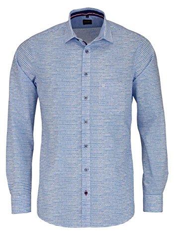 OLYMP Casual Hemd Langarm mit Brusttasche Ringel blau